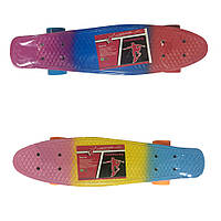 Пенни борд Profi Action Penny Board, скейт Пенни Борд (трехцветный)