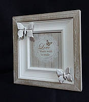 "Настольная рамка ""Бабочки"" из дерева (лепка), 18х18 см., 155/125 (цена за 1 шт. + 30 гр.)"