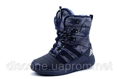 Зимние кроссовки унисекс Adidas, высокие, на меху, темно-синие с серым
