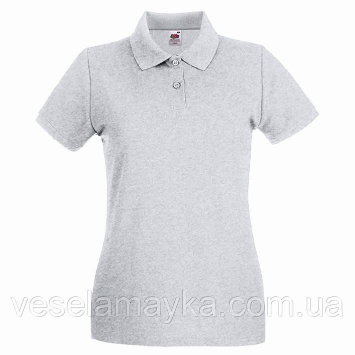 Серая женская футболка поло (Премиум)