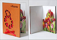 """Подарки для женщин - оригинальная открытка """"С 8 Марта.сердечки"""""""