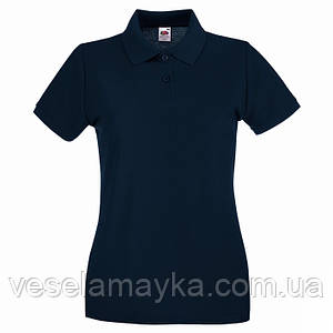 Глубоко темно-синяя женская футболка поло (Премиум)