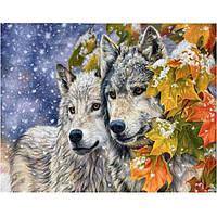 """Картина для рисования камнями Diamond painting """"Волки и кленовые листья"""", фото 1"""