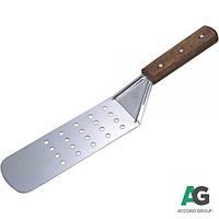 Лопатка для переворачивания перфорированная 70х200 мм, L-365 мм с деревянной ручкой Stalgast 503240