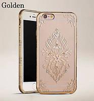 Силиконовый чехол золотой со стразами Узор для iPhone 6/iPhone 6S
