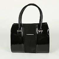 Женская каркасная лаковая сумка с замшем М62-лак/замша