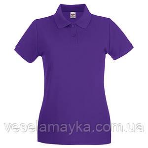 Фиолетовая женская футболка поло (Премиум)