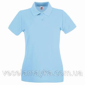 Голубая женская футболка поло (Премиум)