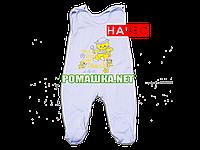 Ползунки высокие с застежкой на плечах р. 74 с начесом ткань ФУТЕР 100% хлопок ТМ Алекс 3167 Голубой