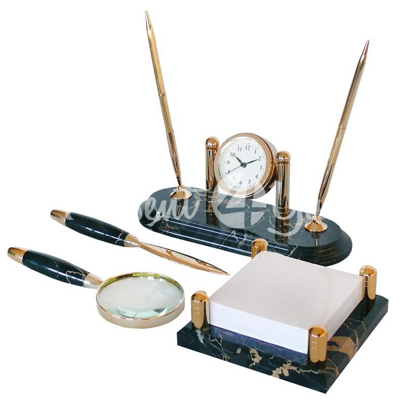 Настольный набор для руководителя, мрамор, 4 предметы