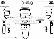 Тюнинг панели проборов (торпедо) для Фиат Добло 2010-2014 из 27 элем (наклейки)