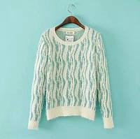 Модный женский свитер мятного цвета