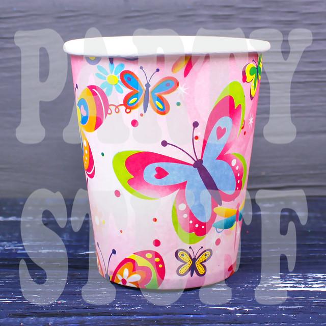 Стаканчики бумажные Бабочки