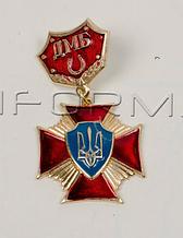 """Нагрудний знак """"Хрест на підвісці ДМБ""""червоний"""