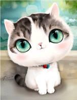 """Картина для рисования камнями Diamond painting """"Кошка зеленые глаза"""""""