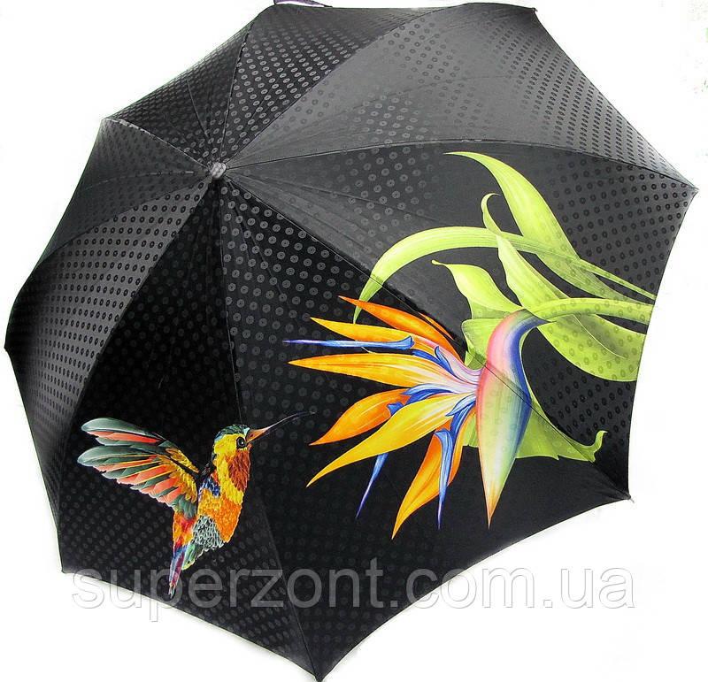 Женский стильный зонт, полный автомат Doppler 34519-1 колибри зеленый, система антиветер