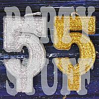 Свеча цифра с блестками 5, серебро+золото
