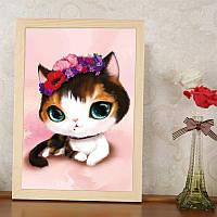 """Картина для рисования камнями Diamond painting """"Кошка с веночком из цветов"""""""