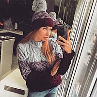 Женский свитер вязаный с косами