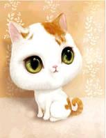 """Картина для рисования камнями Diamond painting """"Кошка с коричневой челкой"""""""