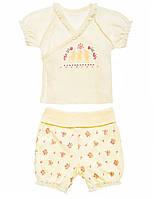 Комплект для девочки (распашонка-футболка+шорты):цвет -Кремовый,размер-56 см,0-1 мес