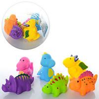 Динозавры CQS602-6 для купания, пищалка, 6шт, 7см, в сетке, 12-12-5см
