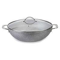 Сковорода-вок с крышкой Fissman MOON STONE 28х8 см с индукционным дном