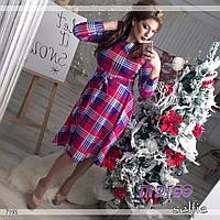 """Платье женское с поясом больших размеров """"Клеточка"""""""