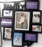 Фотоколлаж Семья Family  на 9 фото, черный