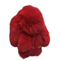 Брелок Зайка из натурального меха красный