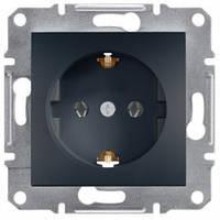 Розетка с заземлением и шторками, антрацит - Schneider Electric Asfora