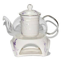 Чайник заварочный стеклянный с фарфоровым ситом и керамической подставкой Тень 600 мл