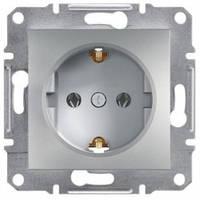 Розетка с заземлением и шторками, алюминий - Schneider Electric Asfora