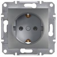 Розетка с заземлением и шторками, сталь - Schneider Electric Asfora