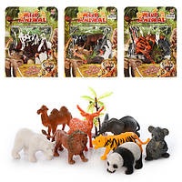 Животные QT031-2-3-4 8шт, 4 вида (3в-дикие,1в-домашние), в кульке на листе, 19-25-3см