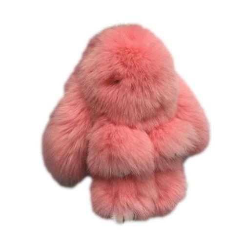 Брелок Зайка из натурального меха розовый