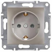 Розетка с заземлением и шторками, бронза - Schneider Electric Asfora