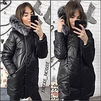 Теплая удлиненная женская зимняя куртка, внутри силикон, мех на капюшоне натуральный. Цвет черный