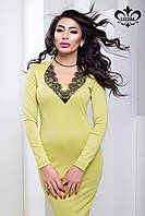 """Женское платье с кружевом """"Марлен"""" (оливковый), фото 1"""
