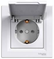 Розетка с заземлением и крышкой, белый - Schneider Electric Asfora