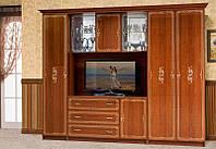 Стенка для маленькой гостиной Версаль 2 с нишей для телевизора, каштан, 2816*2260*610
