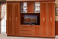 Стенка для гостиной со шкафами для одежды Версаль 3, каштан 3266*2260*610