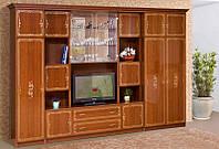 Мебельная стенка для гостиной Версаль 4 с нишей для телевизора, каштан 3266*2260*610