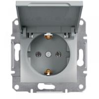 Розетка с заземлением и крышкой, алюминий - Schneider Electric Asfora