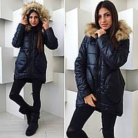 Теплая удлиненная женская зимняя куртка низ на резинке, внутри синтепон 200. Мех натуральный. Черный цвет