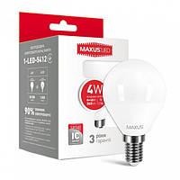 Светодиодная лампа Maxus G45 F 4W 4100K 220V E14 (1-LED-5412)