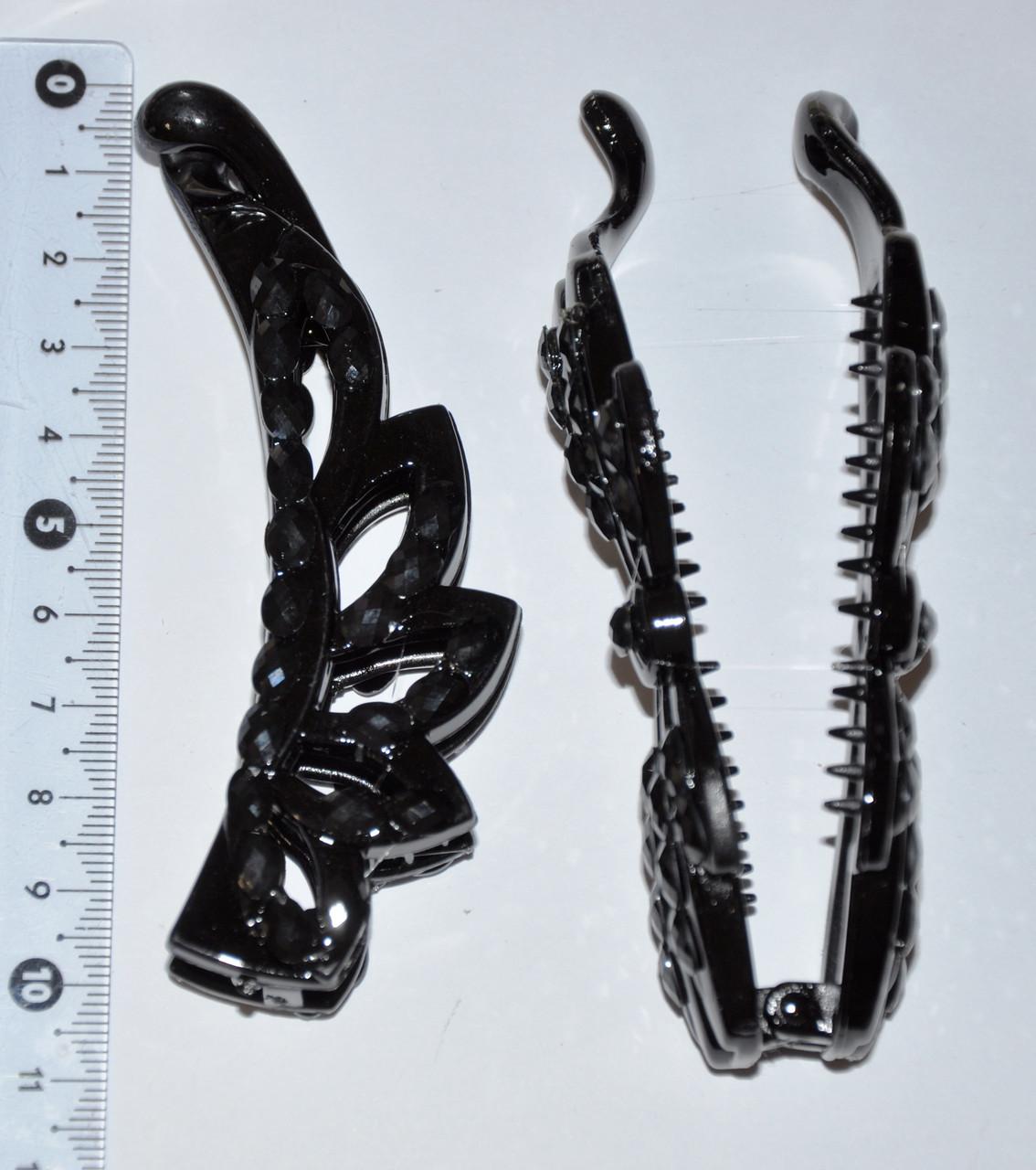 """Заколки """"банан"""" для волос c черными камнями (6 шт)"""