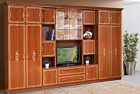 Стенка мебельная большая для гостинной Версаль 5, с нишей для TV каштан 3716*2260*610