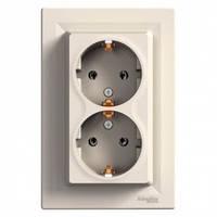 Розетка двойная с заземлением, слоновая кость - Schneider Electric Asfora