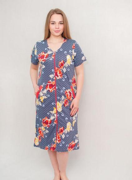 Жіночий халат річний середнього розміру сірий з квітами